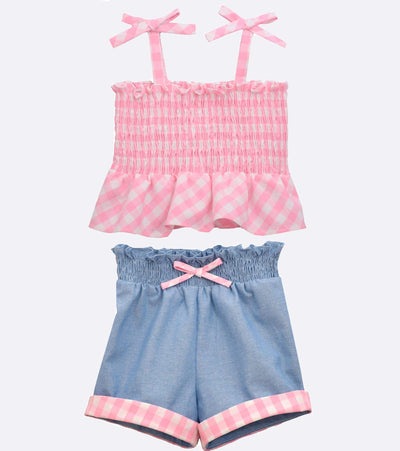 baby girl gingham short set
