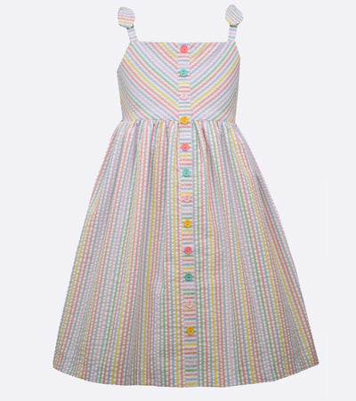 little girls multi color seersucker striped dress
