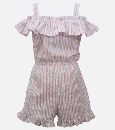 little girls stripe ruffle romper