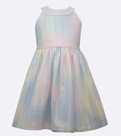 little girls party dress with rainbow lace and shimmer overlay