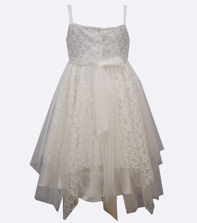 little girls party dress with lace and mesh skirt