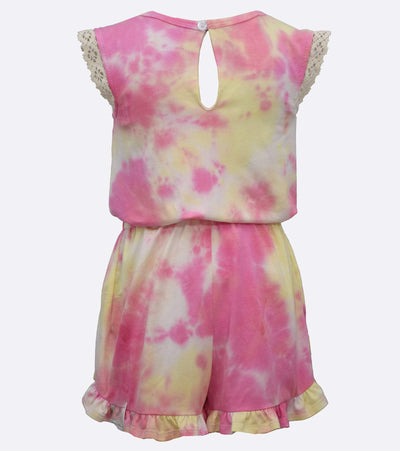 little girl summer romper tye dye print