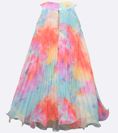 little girls tie dye crystal pleated dress