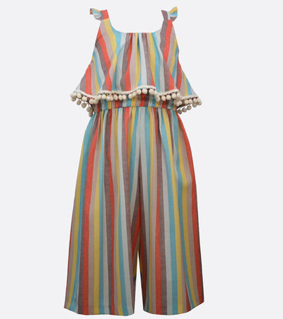 tween girls jumpsuit with stripes and pompoms