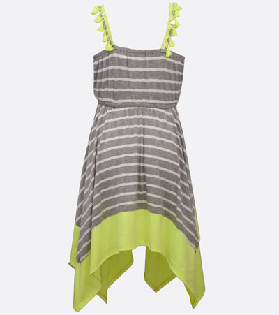 tween dress with stripes and hanky hem