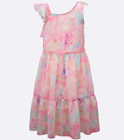 little girls tie dye maxi dress with ruffles