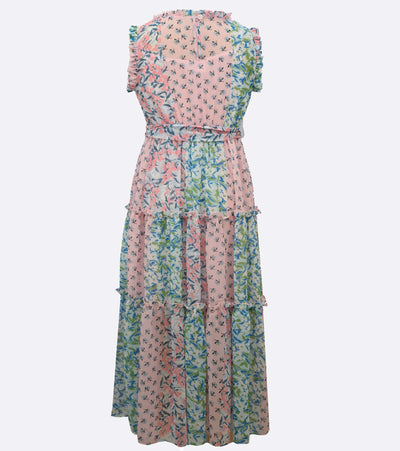 Tween maxi dress with patchwork print and tiered skirt