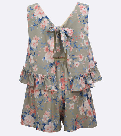 big girls floral romper with ruffle detail