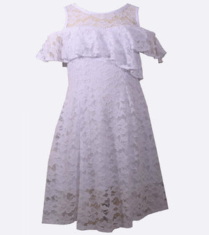 f352f059a02 White Lace Party Dress with Cold Shoulder