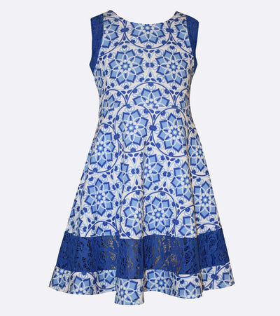 Bonnie Jean Mandala Print Dress with Lace Inserts
