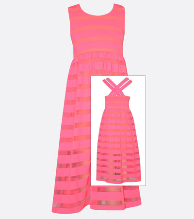 Bonnie Jean Striped Scuba Mesh Maxi Dress