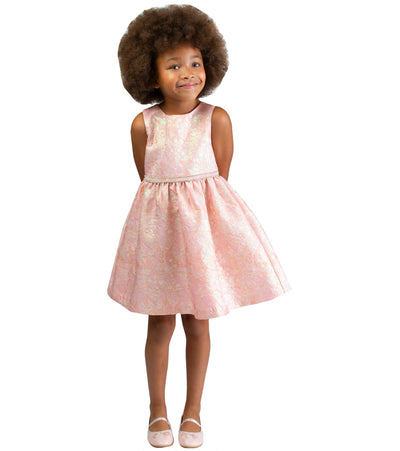 girls easter metallic jaquard dress with jewel waistline