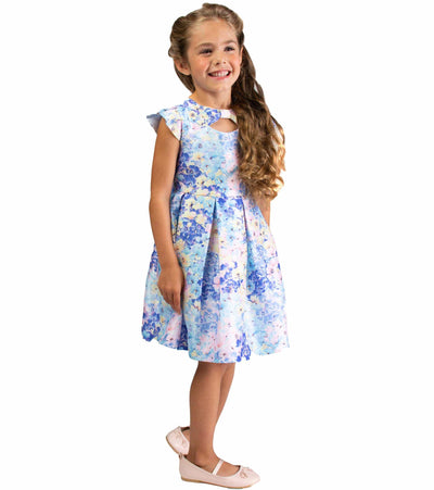 Flutter sleeve party dress with peekaboo bodice and floral print