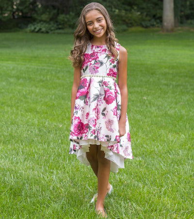 Floral Jacquard Girls Party Dress