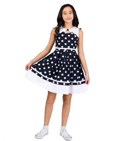 Girls nautical dress with polka dots