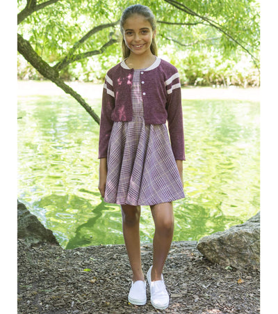 Tween skater dress with coordinating varisty baseball jacket