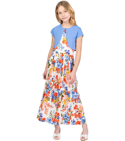 Clara Maxi Flora Pleated Dress
