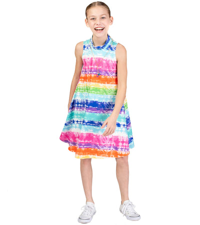tye dye tween dress with necklace
