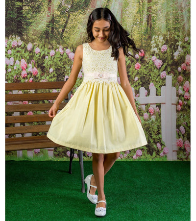 Linen and lace girls easter dress