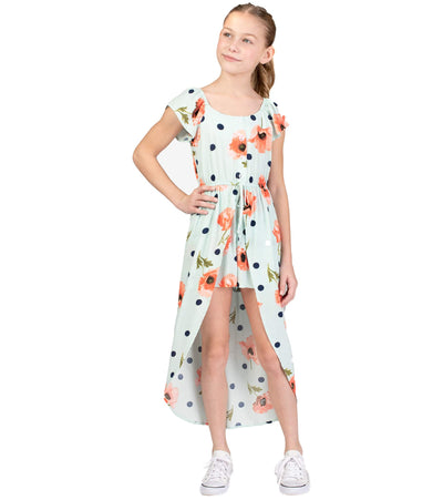 tween romper with floral and polka dots