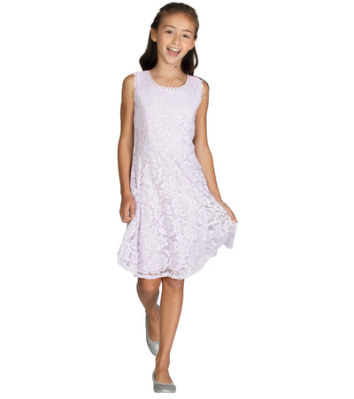 Big girl lavender lace skater dress