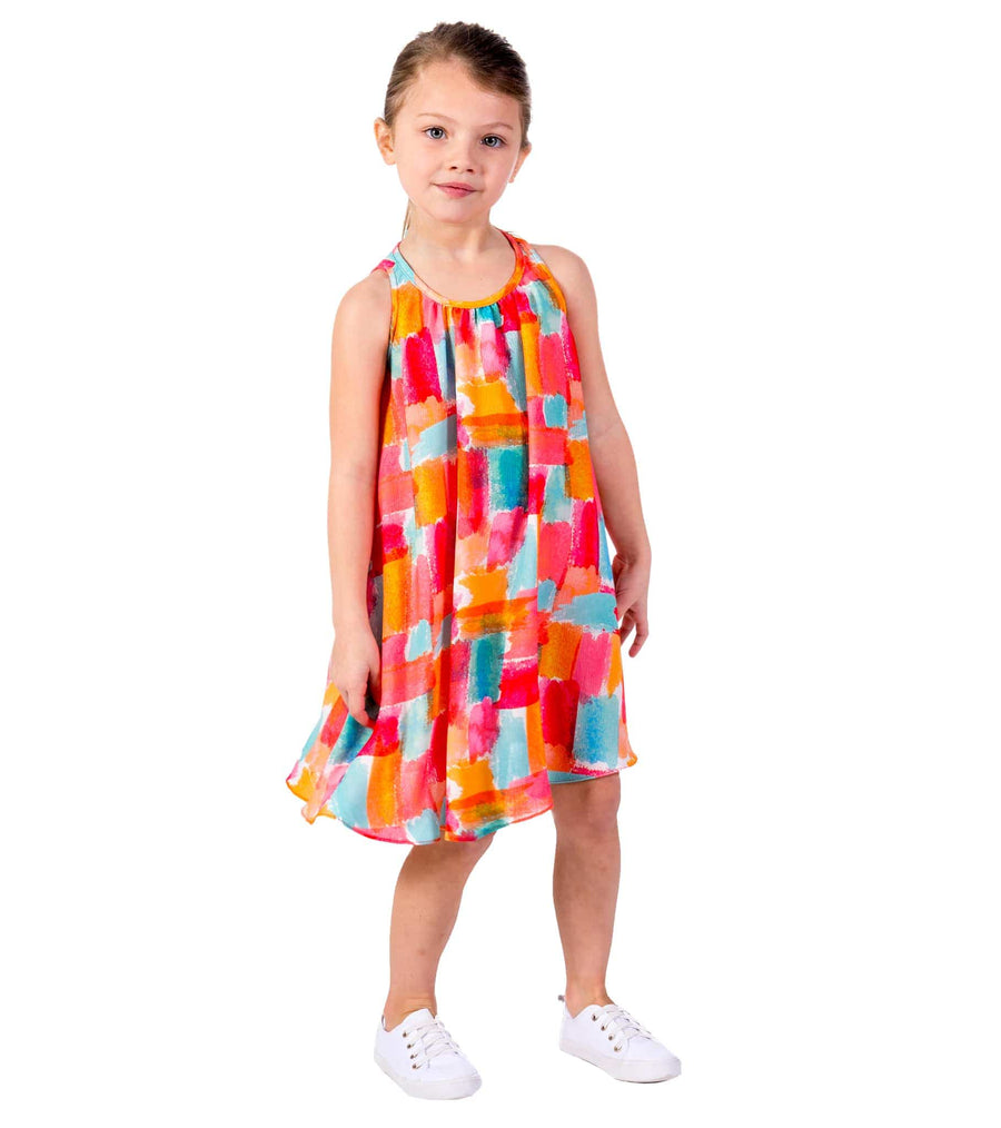 bright sundress, sundress, little girl, summer, spring, orange,