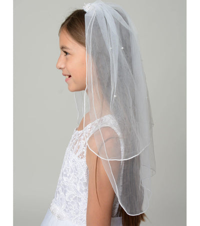 communion comb veil with pearl accents