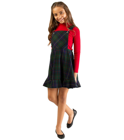 Red and Green Plaid Jumper Dress with Mock Neck