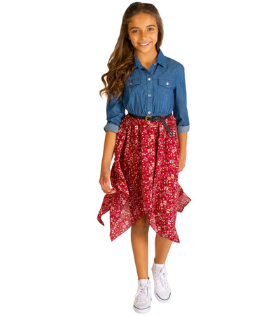 Chambray dress with floral skirt and braided waist trim, a perfect dress for tweens
