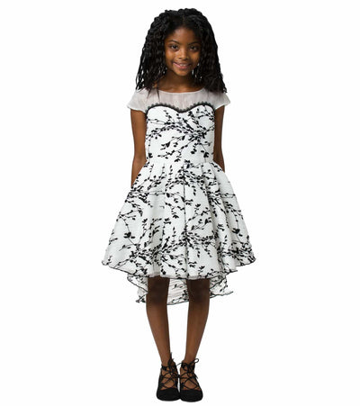 Tween Party Dress, Tween Dress, Plus Size Party Dress, Illusion Neckline, Black and White