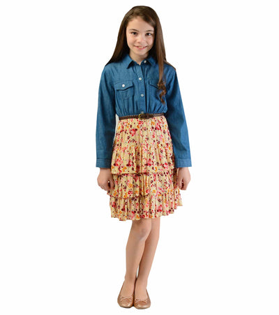 big girls chambray, floral, ruffle, back to school, tween dress