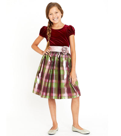 Little Girls Party Dress Stretch Velvet to Plaid