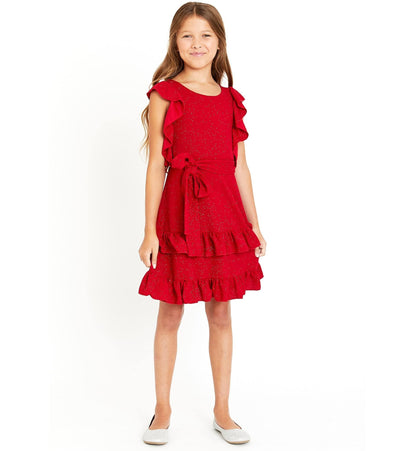Tween Girls Red Ruffle Sparkle Knit girls Christmas dress