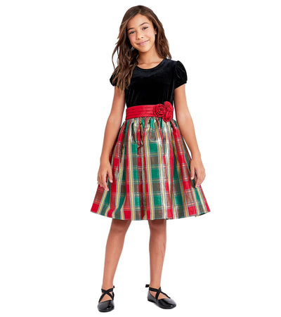 Bonnie Jean's Classic Christmas Dresses for Girls Stretch Velvet to Red and Green Plaid