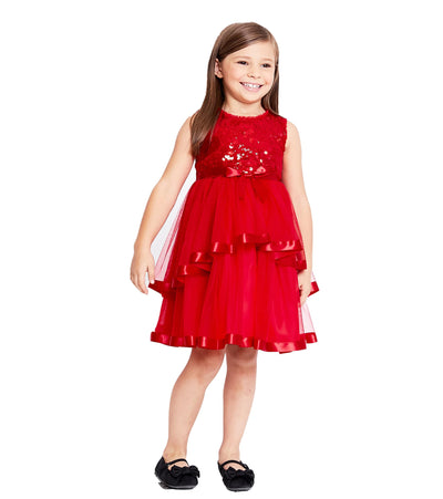 Red sequin matching sister Christmas party dress