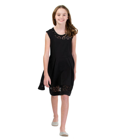 Black tween skater dress with illusion neckline