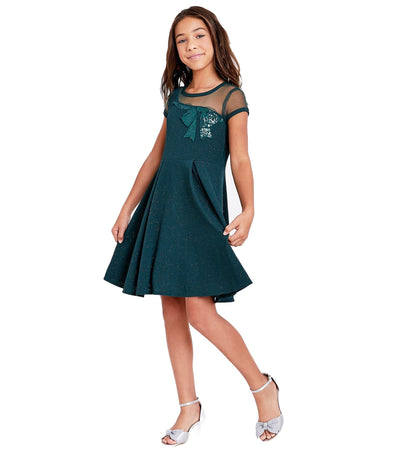 Dresses for Tweens knit sparkle bow dress with illusion