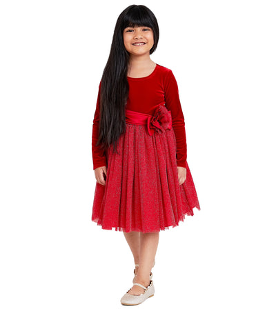 Party Dress for Girls long sleeve velvet to ballerina skirt