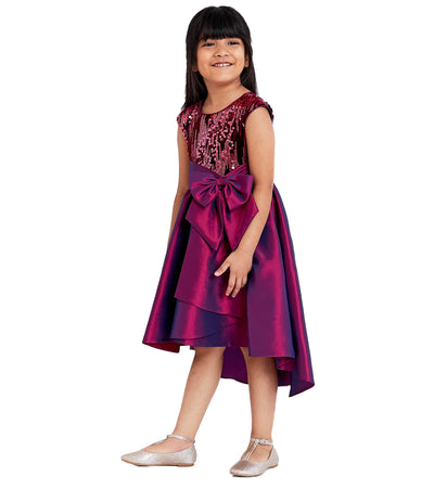 girls sequin mikado high low party dress