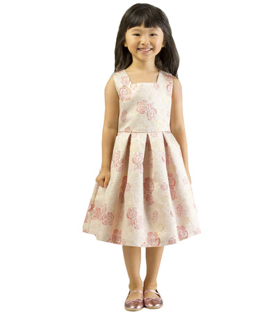Metallic floral jacquard party dress for toddlers