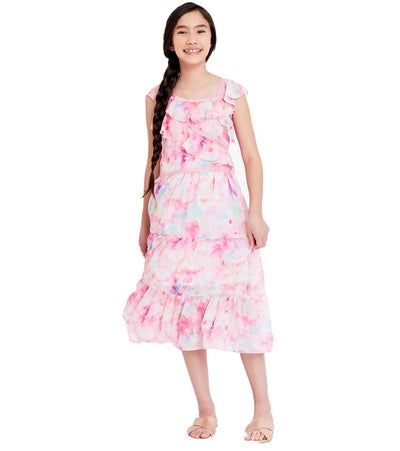 Tween girls maxi tie dye dress with ruffles