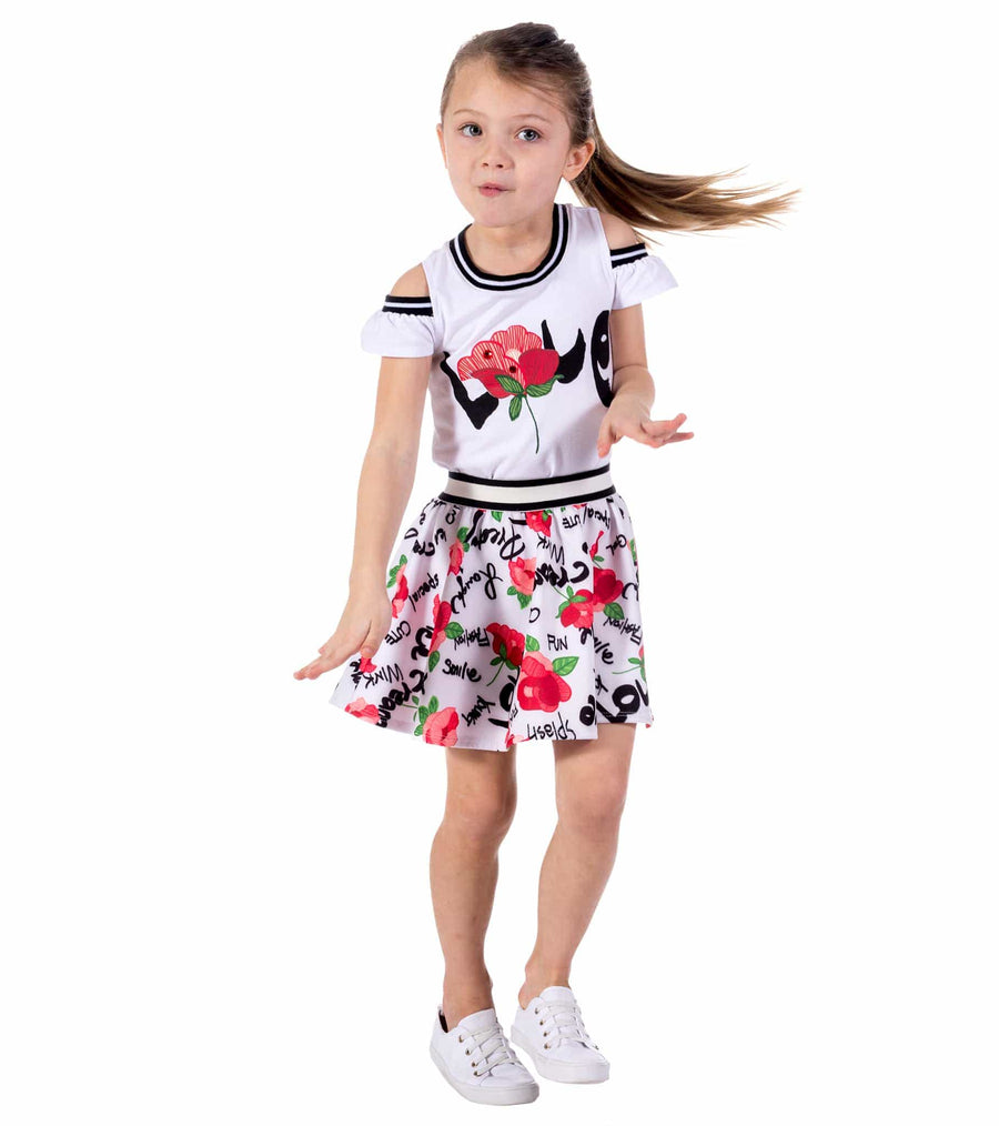 skirt set, summer, spring, cute outfits for girls, dresses for little girls, love, roses, graphics