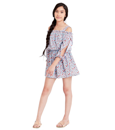 tween floral romper with ruffle details
