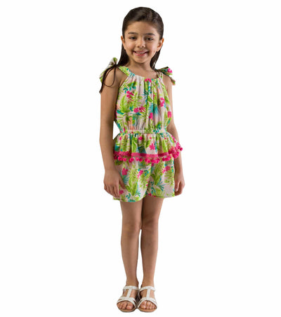 tropical romper, girls romper, summer romper