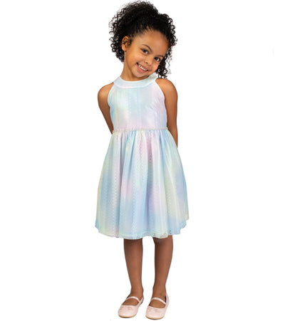 little girls rainbow lace party dress