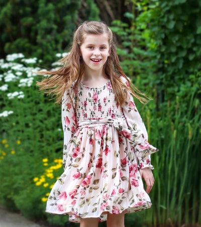 floral lurex tween dress with smocked bodice