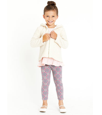 Sister matching outfit three piece sherpa zip up with coordinating knit shirt and legging
