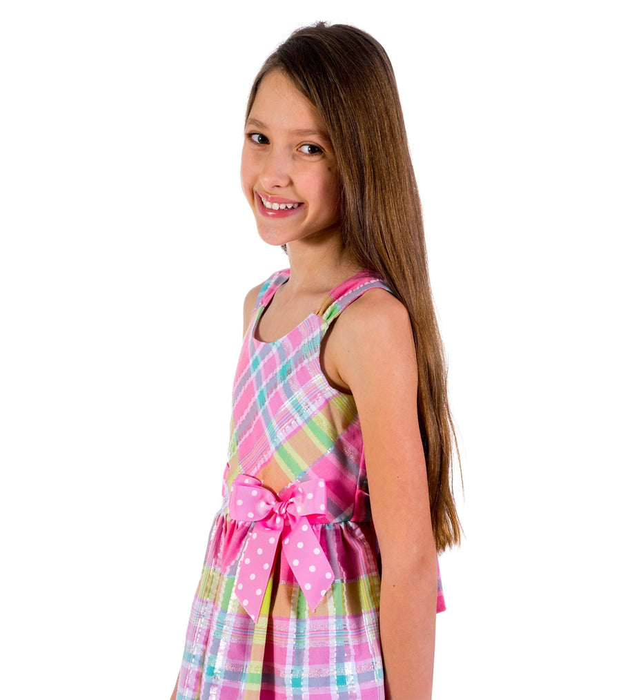big girl sundress, sun dresses for big girls, plaid dresses, pink dresses