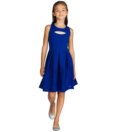 Tween skater dress with peekaboo neckline and chevron hem