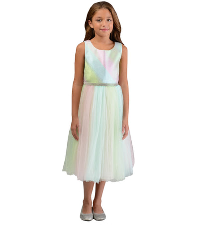 Matching sister party dresses with rainbow skirt and jeweled waist